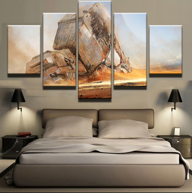 5 pieces movie star wars desert fighter modern home wall for Modern home decor pieces