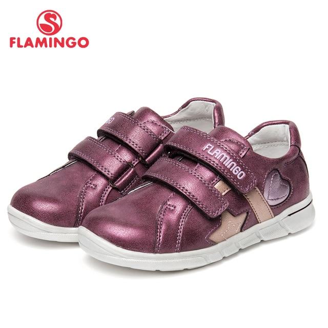 Фламинго брендовые кожаные стельки весенне-летняя детская прогулочная обувь Hook & Loop Детские кроссовки для девочек 91P-XY-1156