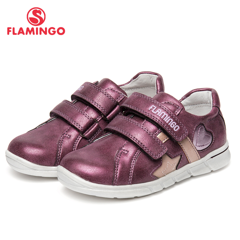 FLAMINGO Brand Leather Insoles Spring& Summer Children Walking Shoes Hook& Loop Kids Sneakers for Girl 91P-XY-1156