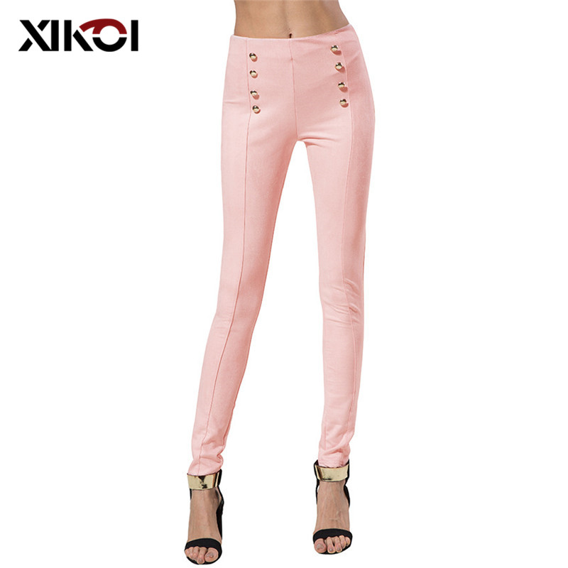 XIKOI High Waist Gold Buttons Suede Pants Skinny Pants Women Fashion Trends For Women Clothing Casual Stretch Trousers Women