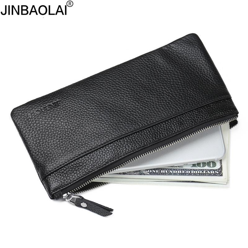 JINBAOLAI Genuine Leather Men's Wallet with Cell Phone Bag Ultra-thin Long Zipper Wallet f