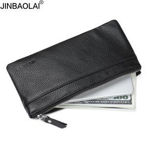 Image 2 - JINBAOLAI portefeuille en cuir véritable avec sac de téléphone portable portefeuille Long à fermeture à glissière Ultra mince pour hommes pochette mince pour homme