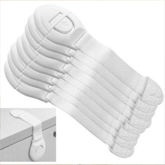 5 unids/lote cajón del armario del Gabinete de la puerta de baño cerraduras de seguridad de los niños del bebé de seguridad plástico cerraduras correas bebé protección