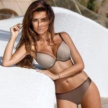 Купить с кэшбэком Two Piece Swimwear Women Push Up Mesh Underwire Low Waist Slim Swimsuit Multi Colors Solid Bathing Suits Bikini Beachwear XXL