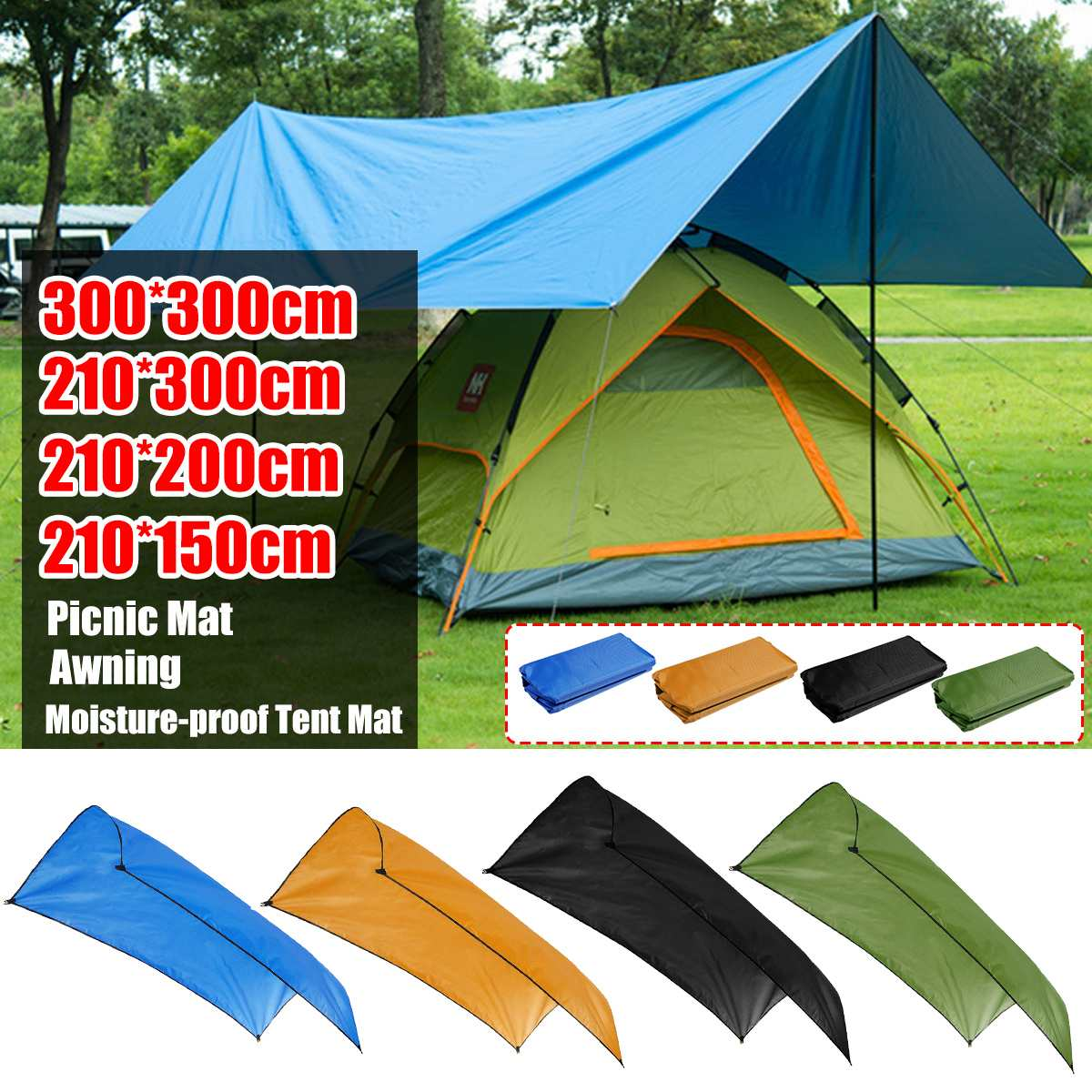 Beach Sun Shelter Tarp Waterproof Tent Shade Ultralight UV Garden Awning Canopy Sunshade Outdoor Camping Hammock Rain Fly