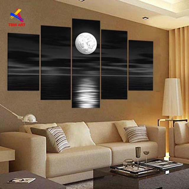 Us 590 Black And White Color Moon Picture Wall Art Hand Painted Modern Abstract Oil Painting On Canvas Gift No Frame Jyjhs001 In Painting