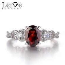 Leige Jewelry Garnet Rings Sterling Silver 925 Engagement Promise Rings for Women Gemstne Jewelry Oval Cut January Birthstone