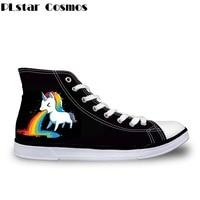 Plstar Cosmos 3D Unicorn Print Man/Women Vulcanize Shoes High Top Canvas Shoes Rainbow for Ladies Flats Female Casual Shoes