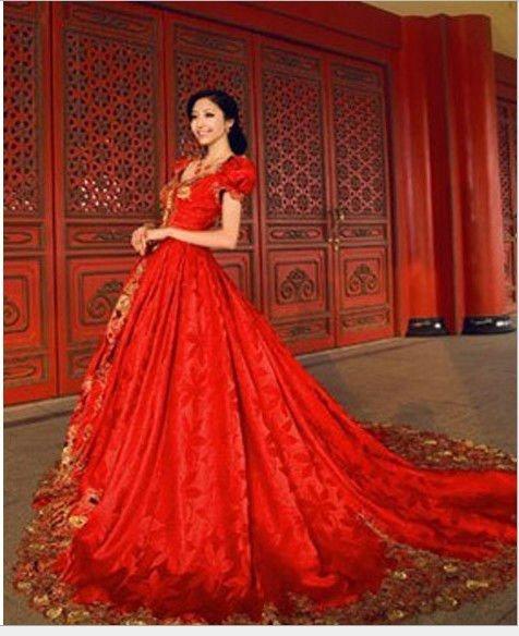 Unique set red baroque palace wedding dresses high grade for Big red wedding dresses