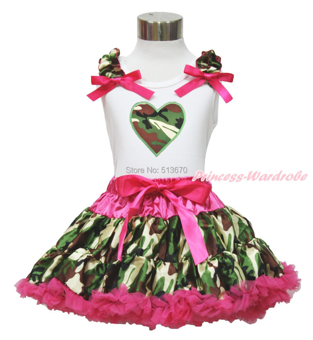Valentine's Day Camouflage Heart White Top Baby Girl Pettiskirt Outfit Set 1-8Y MAPSA0327 xmas red orange yellow black roses brown top baby girl pettiskirt outfit 1 8y mapsa0038