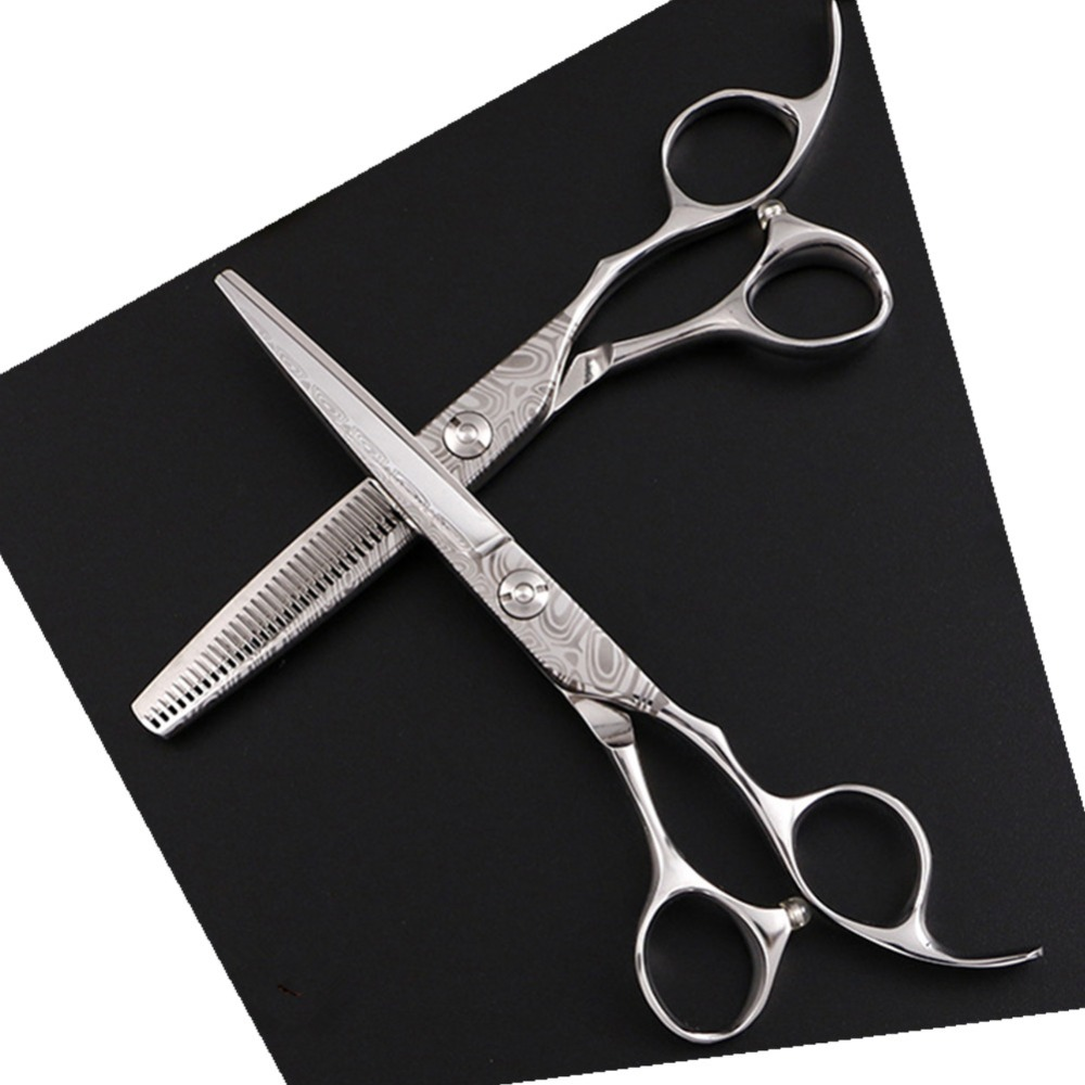 """Freelander 6.0"""" professional Japan 440c Silver hairdressing scissor set for barber or home use"""