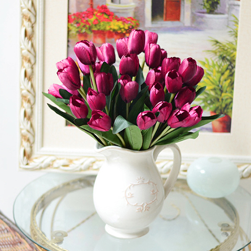 1 bouquet 9 heads fake tulip artificial silk flower home
