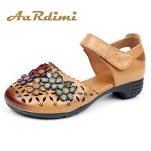 AARDIMI/женские туфли-лодочки с цветочным принтом; женская обувь на высоком каблуке в стиле ретро ручной работы из натуральной кожи; повседневные Летние босоножки; кожаные туфли mary Jane
