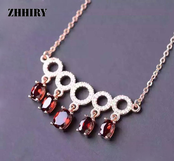 ZHHIRY Genuine Solid 925 Sterling Silver Natural Garnet Gem Pendant Necklace Women Stone Fine Jewelry