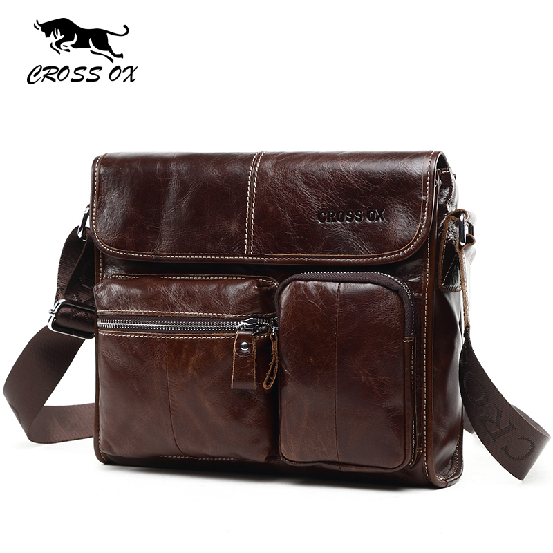 купить  CROSS OX New Arrival Mens Genuine Leather Shoulder & Crossbody Bags Vintage Wax Leather Men Bag Satchel Bag For Men SL395M  недорого