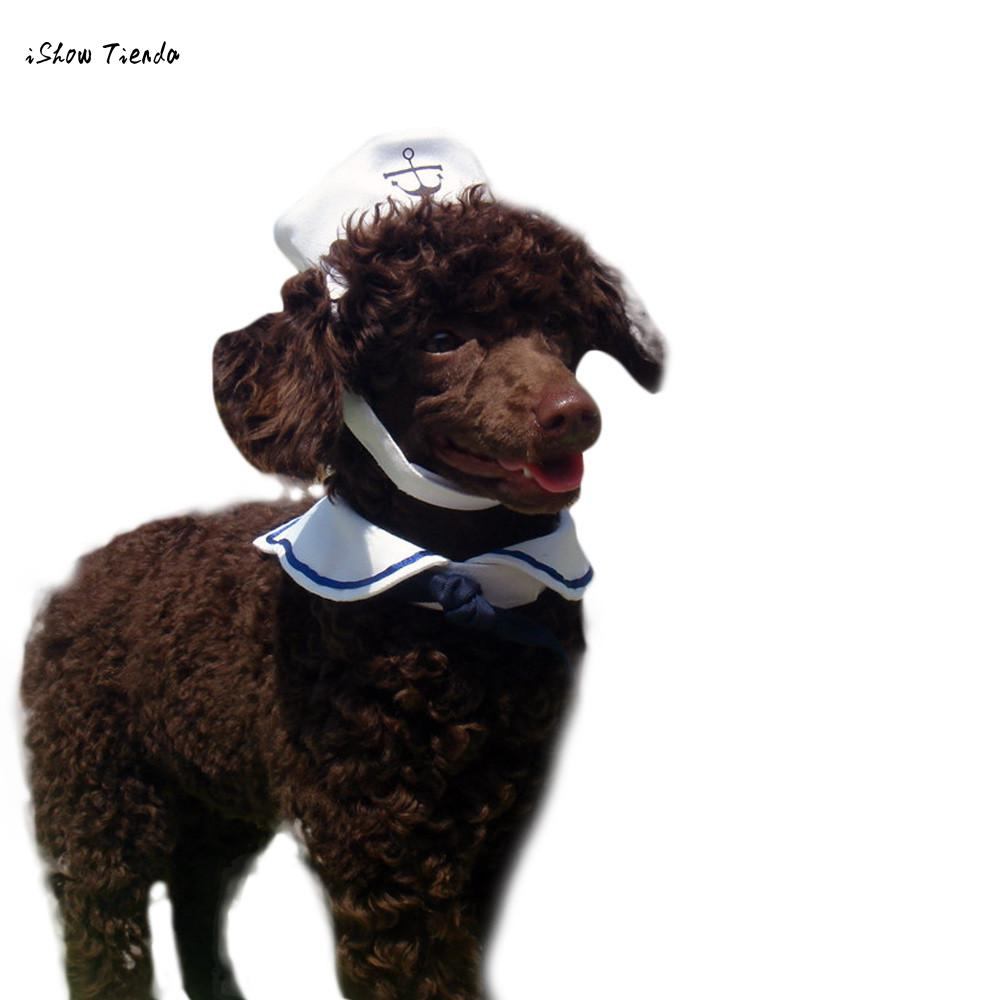 ISHOWTIENDA New Arrival Creative Pet Collar Dog Hat Navy Suit Casual Style Outdoor Playing and Walking Pet Collar Dog Hat Casual