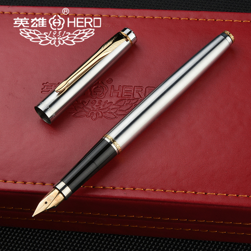 Picasso POLO Classic WHITE Metal Fountain Pen with Golden Clip Fine Nib Gift Pen