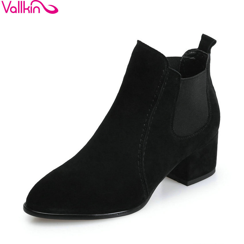 VALLKIN 2018 Women Boots Chunky Out Door Pointed Toe Ankle Boots Short Plush Elegant Square High Heels Ladies Boots Size 34-39 esveva 2018 women boots zippers black short plush pu lining pointed toe square high heels ankle boots ladies shoes size 34 39