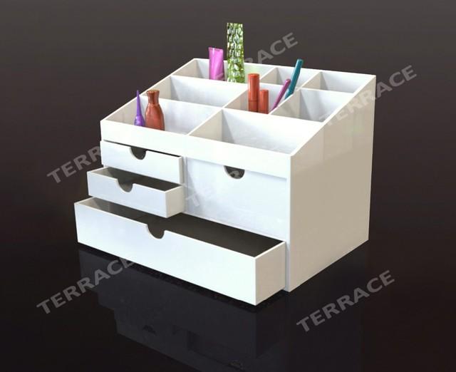 Blanc acrylique cosmétiques maquillage bijoux tiroir porte boîte