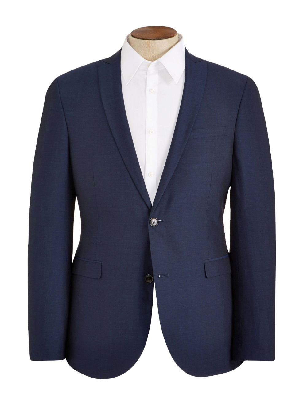 HCF By Air Men's 1 Piece 2 Button Flat Collar Skinny Charm Casual Clothing With New Design Men Suits Jacket Dark Blue