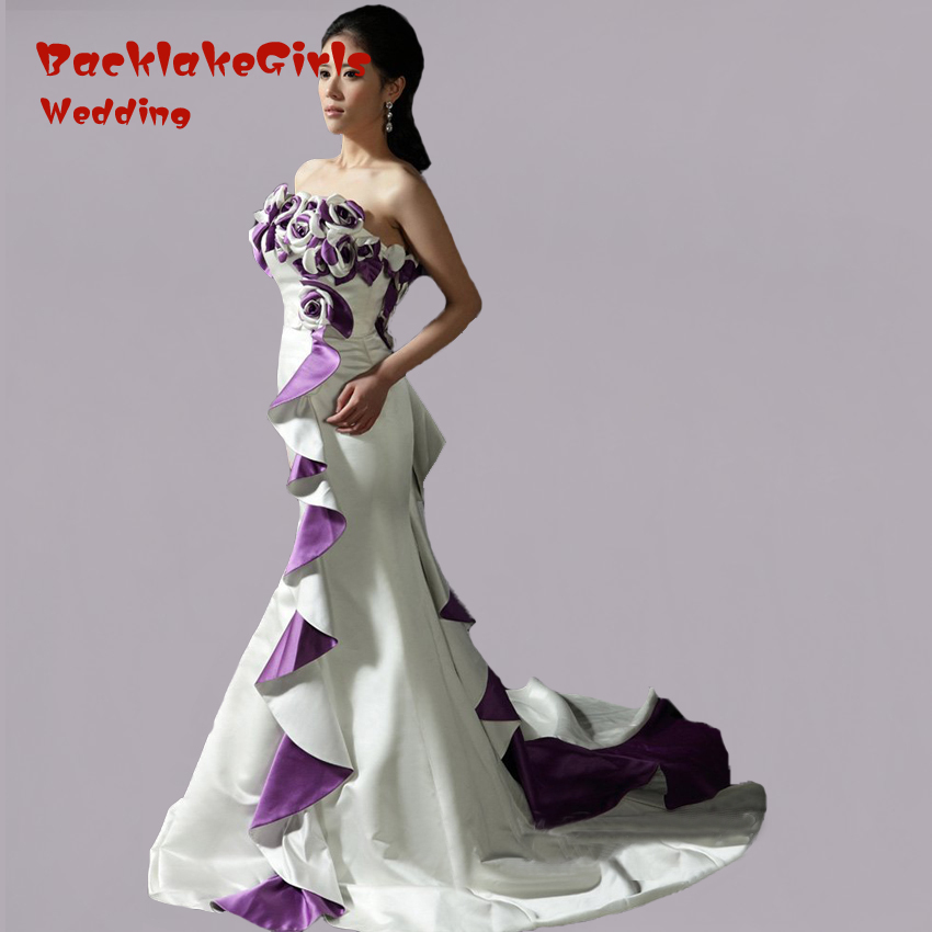 Popular Purple and White Mermaid Wedding Dress-Buy Cheap Purple ...
