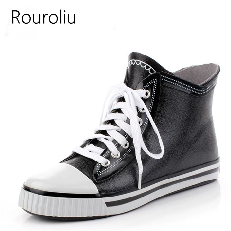 Rouroliu Lace-up Rubber Rain Boots Men's Ankle Rainboots Flat Heels Waterproof Water Shoes Men Outdoor Wellies TS136 spring women rainboots 2016 new plain flat ankle boot waterproof rubber rain boots lace up shoes woman size plus 36 41 xwx3792