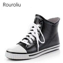 Hot Sale Men Fashion Lace Up Rubber Rain Boots Short Waterproof Ankle Rainboots Flat Heels Water Shoes Black #TS136 цены онлайн