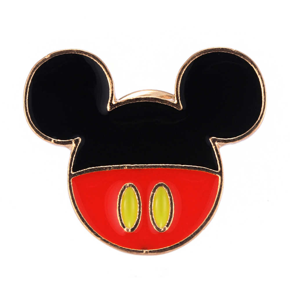 絶妙な動物エナメルマウス耳黒ピンブローチデニムピンバックルシャツバッジギフトジュエリーラペルピン
