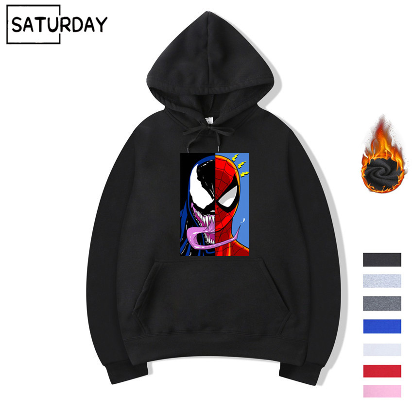 Men's Comics Venom Vs Spiderman Design Fleece Hoodies Sweatshirts Winter Unisex Cartoon Sweatshirts Hoodies Superhero Hoody
