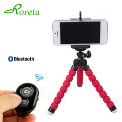 Roreta Esponja Flexível Octopus Tripé Para iPhone Bluetooth Remota Shutter Mini Mesa Suporte de Mesa Tripé Phone Holder Suporte