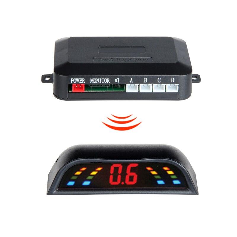 Kit sensor de estacionamento sem fio led parktronic 4 sensores do carro automático reverso assistência radar backup monitor sistema detector radar