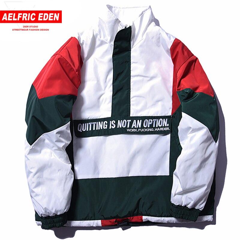 Aelfric Eden Винтаж Цвет блока лоскутное пуловер Куртки мужские хип-хоп вышивка ветровка зимняя куртка уличной FC01