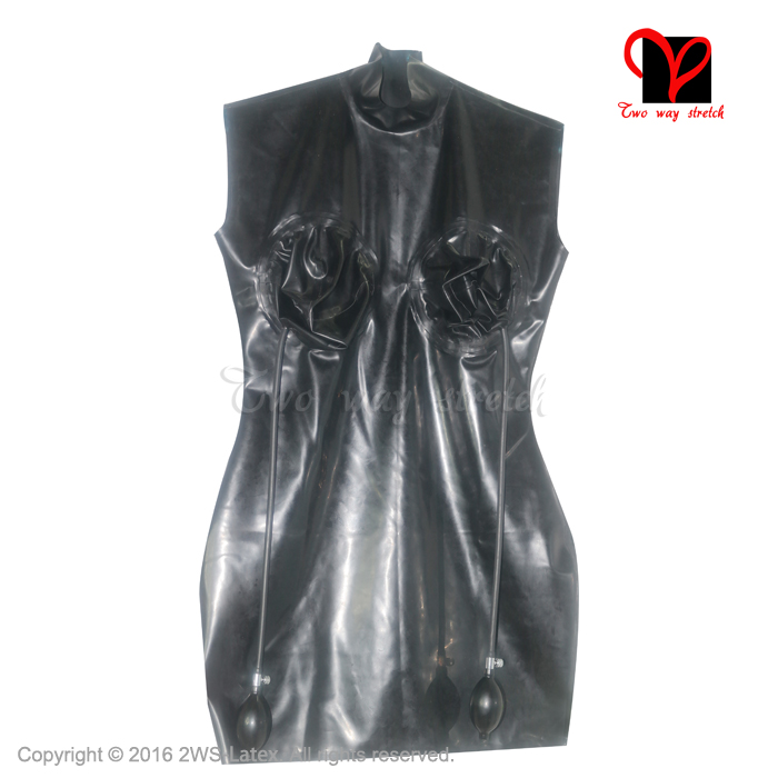 Sexy Black Pencil Latex Dress Inflatable breast Hand Pump Rubber Bandeau Bodycon short playsuit top clothing XXXL Plus QZ-048 3