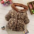 2016 Inverno Leopardo Casaco De Impressão Para Kdis Meninas de Pelúcia Espessa Casaco com capuz de Neve Para As Crianças Da Menina Da Criança Do Bebê Outwear Quente roupas