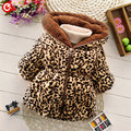 2016 Winter Leopard Print Jacket For Kdis Girls Thick Plush Hooded Snow Coat For Children Toddler Girl Baby Warm Outwear Clothes