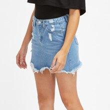 CALOFE Women Blue Ripped Casual Mini Denim Skirt 2019 Summer New Bodycon Women Skirt Basic Pocket Jeans Skirt Mid Waist Skirt