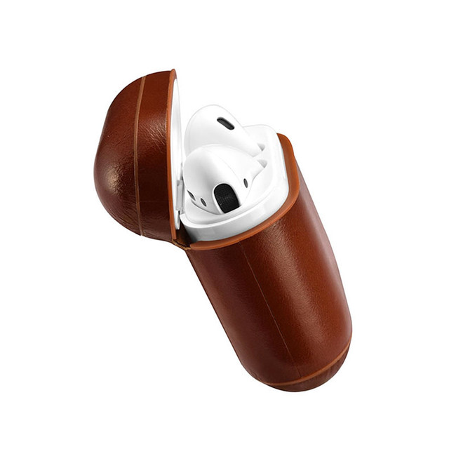 outlet store 2dbac a6af4 US $16.43 30% OFF|Genuine Leather Headset Case Protect Bag Cover For Apple  AirPods Charging Portable Protective Earphone Cases -in Earphone ...