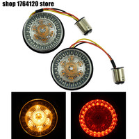 Amber&Red Motorcycle 2pcs 1157 LED Insert Light Turn Signal Indicator Light For Harley Sportster Touring Dyna Softail 2011 2017