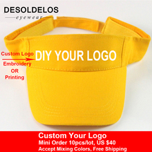DesolDelos Visor Caps Women Open Tops Customized Adjustable Hats LOGO Printing Candy Color Adult Baseball Sun 10pcs/lot