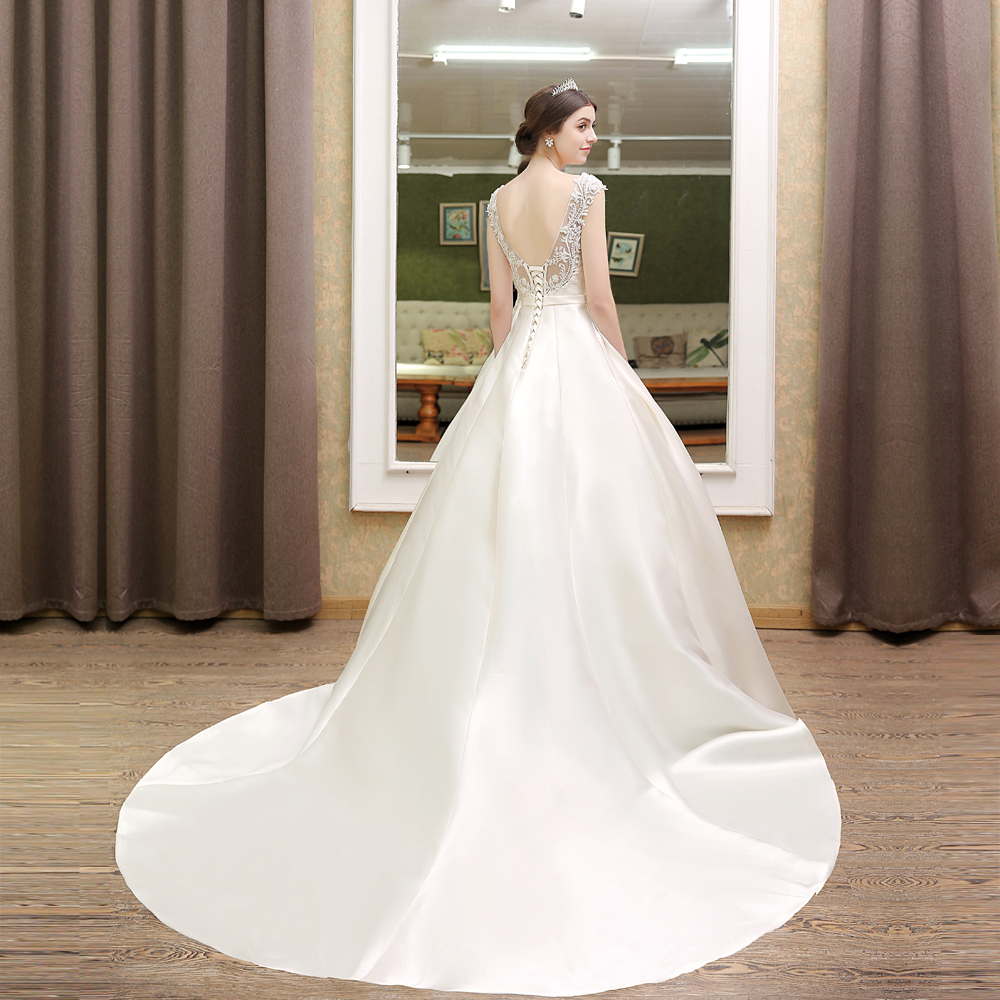 Vintage Romantic Princess Pearls Satin Wedding Dress