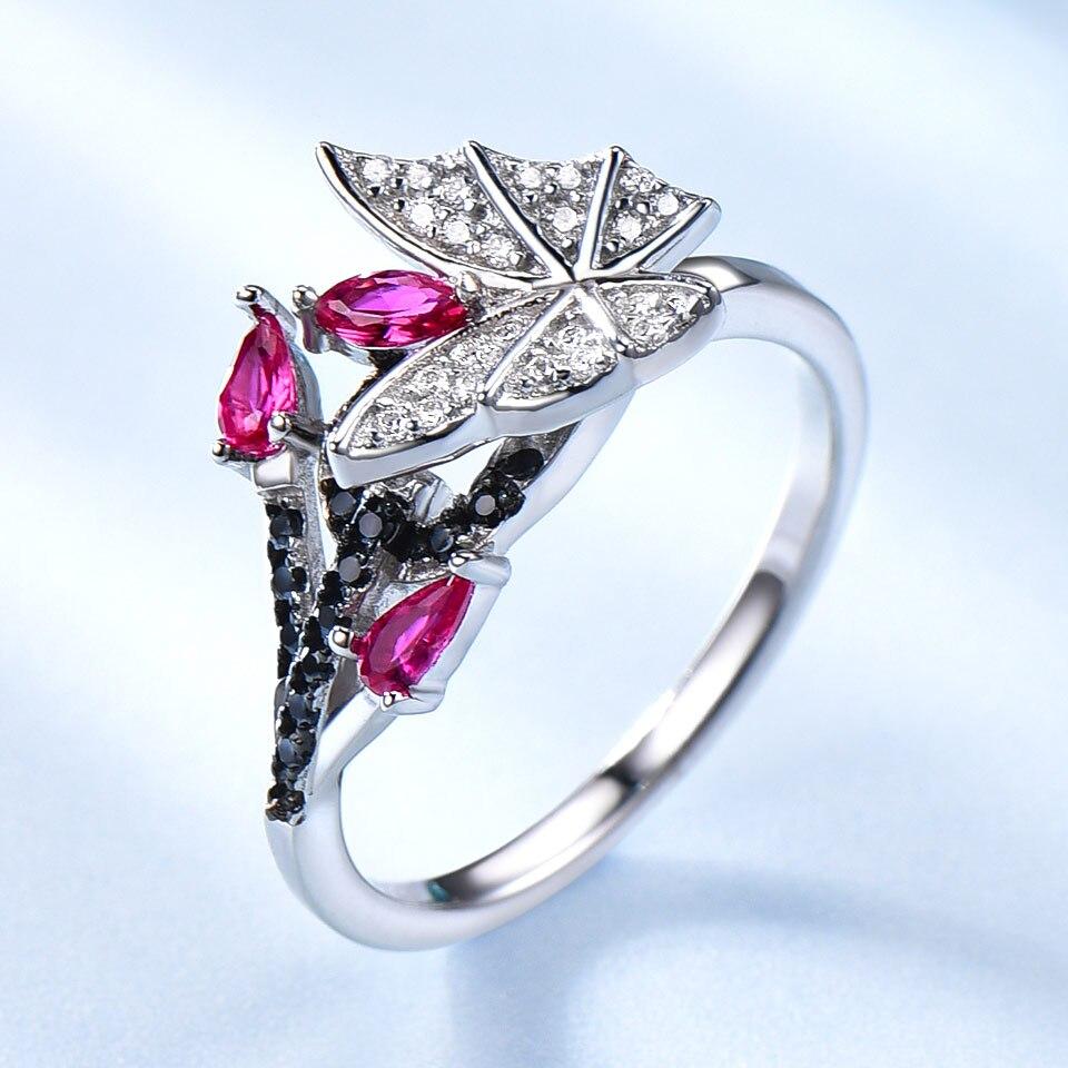 UMCHO 925 bijoux en argent Sterling papillon ensemble romantique rubis noir spinelle pierres précieuses anneaux pendentif boucles d'oreilles pour les femmes cadeau - 3