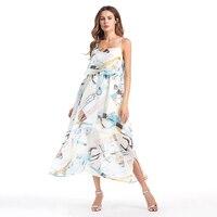 2017 Hot Sale Summer Beach Women Dresses Floral Printed Spaghetti Strap Halter Female Maxi Vestidos Loose