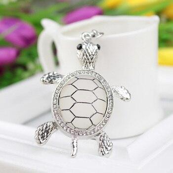 Keychains for Bags Lovers Gift Beautiful Rhinestone Tortoise Keychains Keyring Turtle Metal Crystal Key Ring Chains Чокер