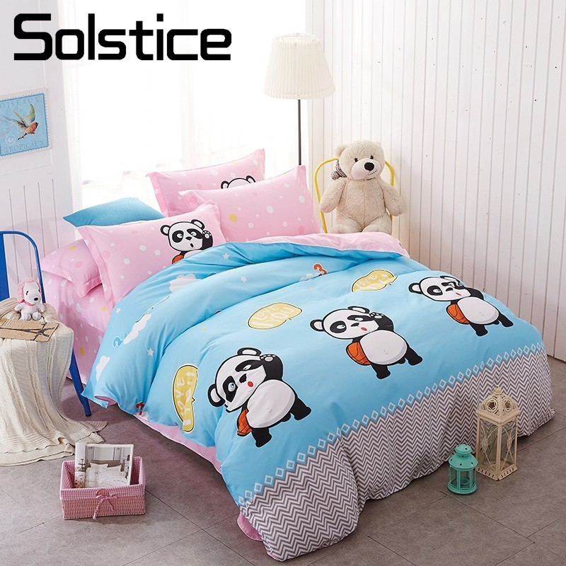 Solstice Home Textile Panda Basketball Player Bedding Sets For Kid Child Pink Duvet Cover Pillowcase Flat Bed Sheets King 3/4Pcs