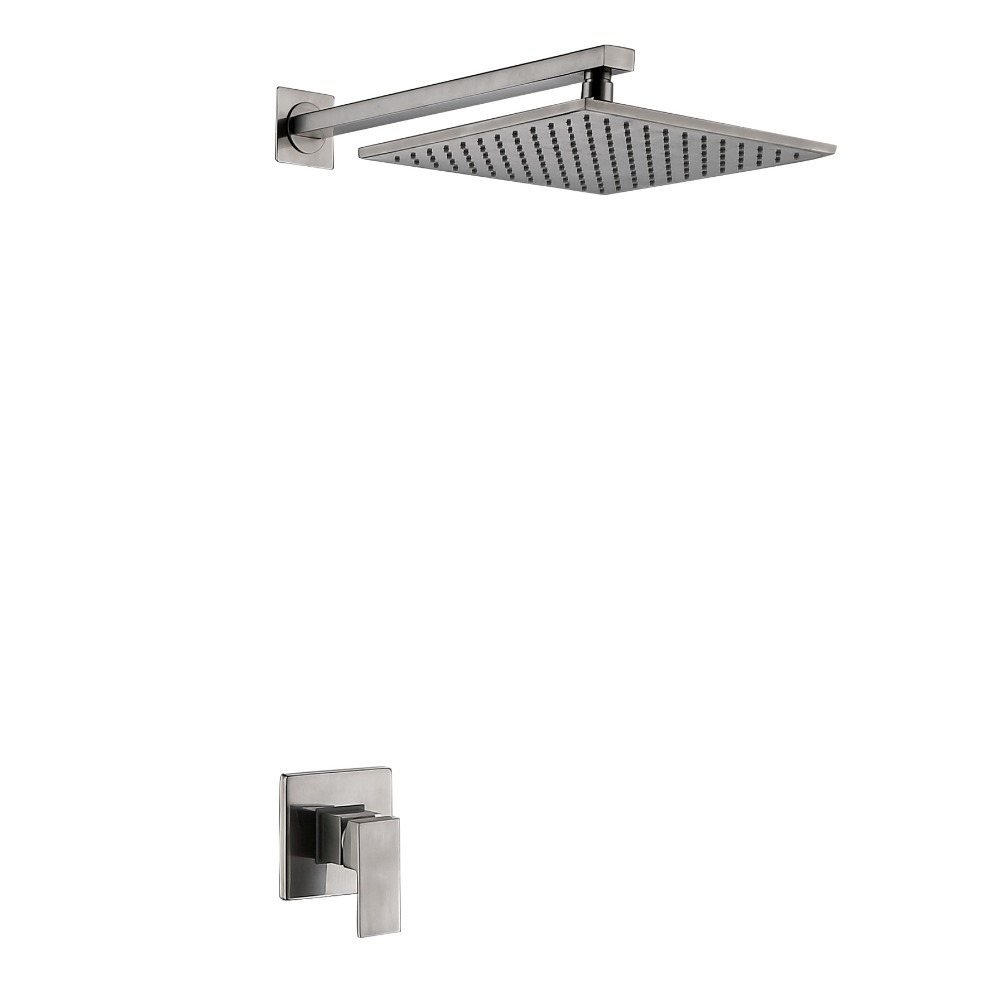 Free shipping solid brass wall mount brushed nickel square - 8 inch brushed nickel bathroom faucet ...