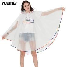 Yuding Hooded Women Raincoat EVA Universal Girls Hiking/Cycling Poncho Waterproof Fashion Semi-transparent rain coat for woman