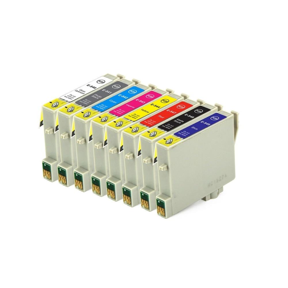 Voller Tinte 8 STÜCKE Tintenpatronen T0541 T0542 T0543 T0544 T0547 T0548 T0549...