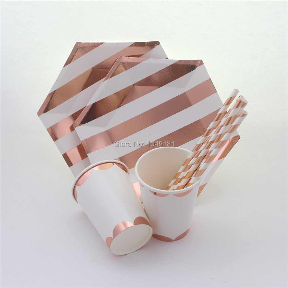 Striped paper canape plates and paper party cups rose gold for Decoration canape