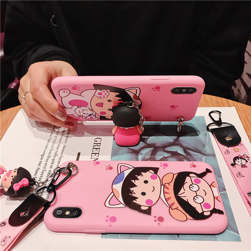 Cute cartoon bracket lanyard mobile phone case for iPhone X XS XR XSMax 8 76 6S PluS hanging silicone anti drop protection cover in Fitted Cases from Cellphones Telecommunications
