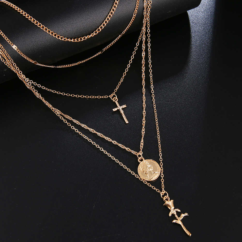 FAMSHIN Fashion Multiple Layers Cross Necklaces For Women Charm Gold Color Chokers Necklace Boho Collares Female Party Jewelry